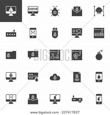 Cyber Crime Vector Icons Set, Modern Solid Symbol Collection, Filled Style Pictogram Pack. Signs Log