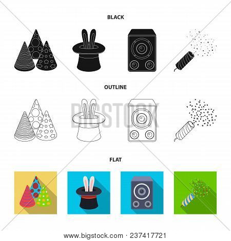 Tricks, Music And Other Accessories At The Party.party And Partits Set Collection Icons In Black, Fl