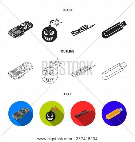 Video Card, Virus, Flash Drive, Cable. Personal Computer Set Collection Icons In Black, Flat, Outlin