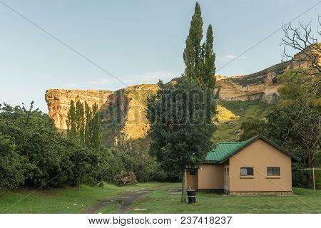 Golden Gate Highlands National Park, South Africa - March 14, 2018: The Golden Sandstone Cliff Of Th