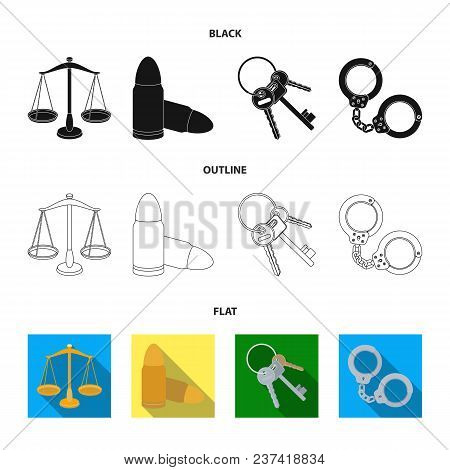 Scales Of Justice, Cartridges, A Bunch Of Keys, Handcuffs.prison Set Collection Icons In Black, Flat