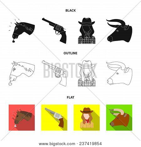 Head Of A Horse, A Bull Head, A Revolver, A Cowboy Girl.rodeo Set Collection Icons In Black, Flat, O