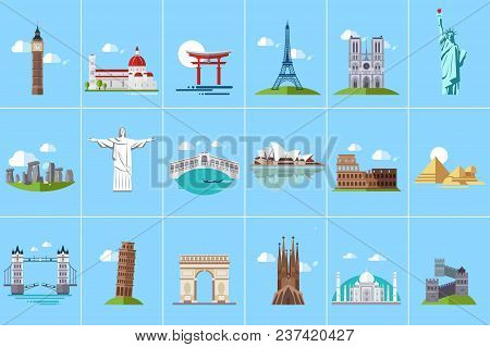 Famous Architectural Landmarks Set, Popular Travel Historical Landmarks And Buildings Of Different C