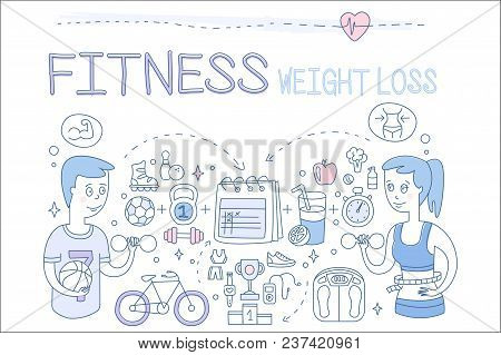 Set Of Hand Drawn Icons Related To Fitness Theme And Active Lifestyle. Weight Loss. People, Sports E
