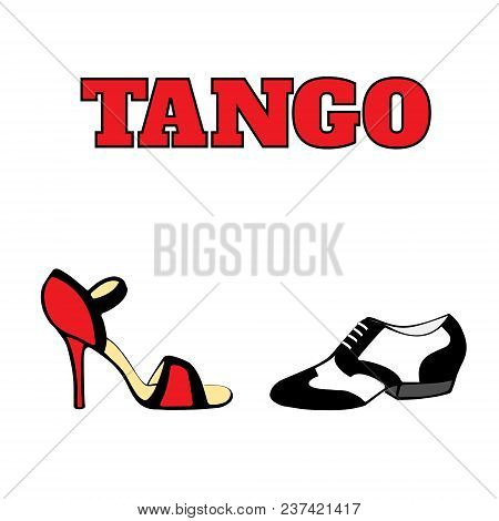 Vector argentine tango dancing shoes poster with men shoe in black and white, 20s style, women shoe high heel, red and black, with word tango. Poster, postcard, milonga invitation. poster