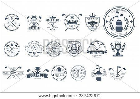 Collection Of Vintage Logo Templates For Golf Club. Individual Sports Game. Creative Monochrome Embl