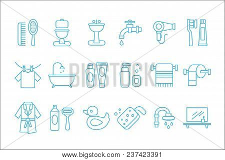 Collection Of Linear Icons Related To Bathroom And Personal Hygiene. Toilet, Sink, Hairdryer, Bathro