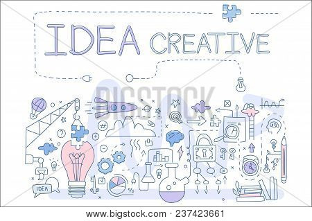 Icons Related To Creative Idea And Startup. Stack Of Books, Rocket, Human Head With Brain, Speech Bu