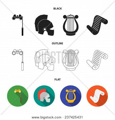 Theatrical Binoculars, A Helmet, A Harp And A Paper Scroll. The Theater Set Collection Icons In Blac
