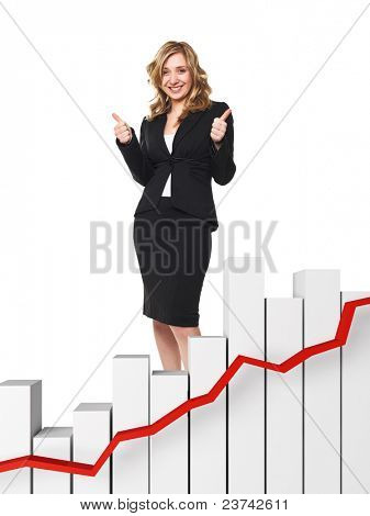 woman thumbs up and 3d chart