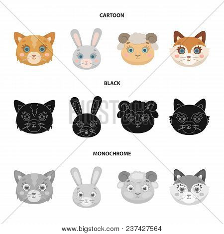 Cat, Rabbit, Fox, Sheep. Animal Muzzle Set Collection Icons In Cartoon, Black, Monochrome Style Vect