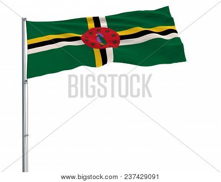 Isolate Flag Of Commonwealth Of Dominica On A Flagpole Fluttering In The Wind On A White Background,
