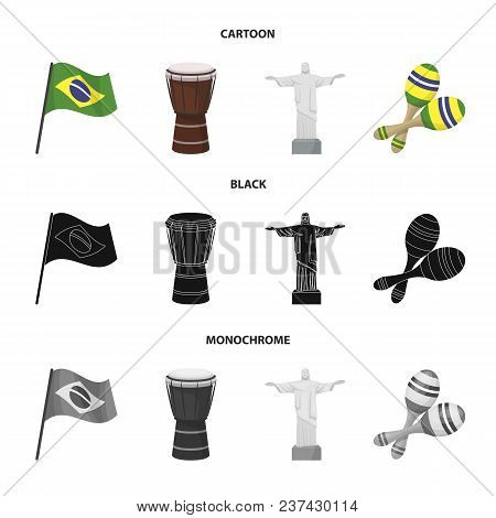 Brazil, Country, Flag, Drum . Brazil Country Set Collection Icons In Cartoon, Black, Monochrome Styl