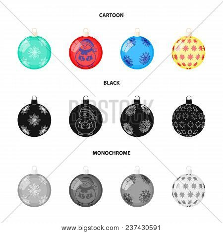 New Year Toys Cartoon, Black, Monochrome Icons In Set Collection For Design.christmas Balls For A Tr