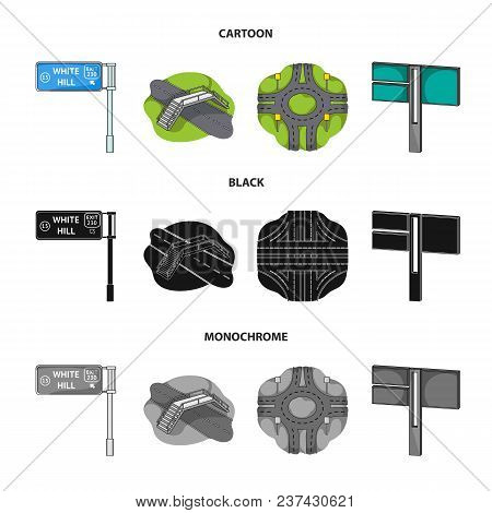 Direction Signs And Other  Icon In Cartoon, Black, Monochrome Style.road Junctions And Signs Icons I