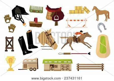 Set Of Objects Related To Equestrianism Sport. Man On Horse, Wooden Barn And Fence, Rider S Outfit A