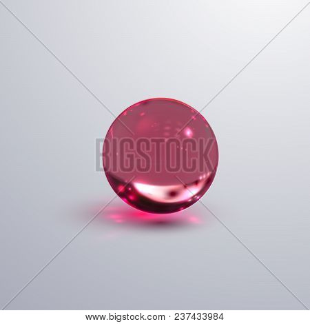 Glossy Transparent Sphere. Vector Realistic Illustration Of Pink Oil Substance With Caustic Effect.