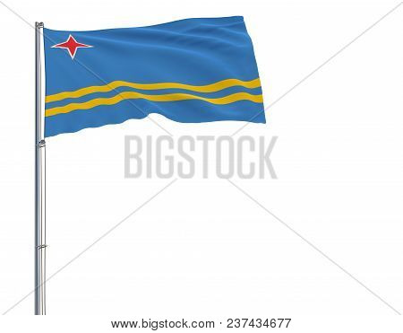 Isolate Flag Of Aruba On A Flagpole Fluttering In The Wind On A White Background, 3d Rendering