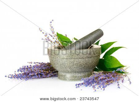 Beautiful lavender in a mortar isolated on white