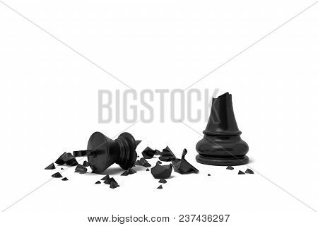 3d Rendering Of A Completely Broken Black Chess King Lies In Rubble On A White Background. Loss And