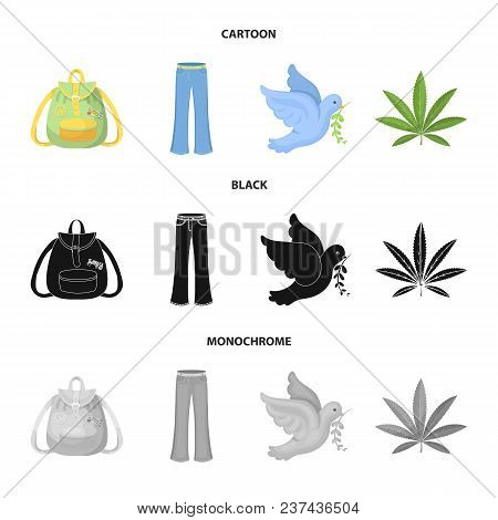 A Cannabis Leaf, A Dove, Jeans, A Backpack.hippy Set Collection Icons In Cartoon, Black, Monochrome