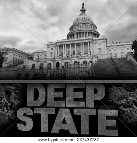 Deep State Politics Concept And United States Political Symbol Of An Underground Government Bureaucr
