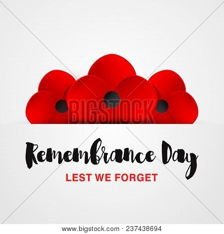 Remembrance day vector photo free trial bigstock remembrance day vector card lest we forget anzac day red poppy flower mightylinksfo