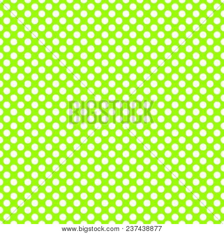 Tile Vector Pattern With White Polka Dots On Neon Green Background