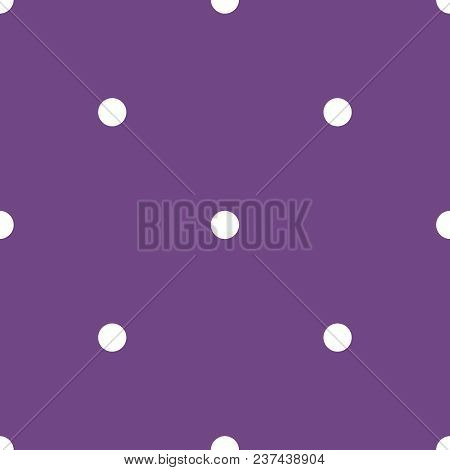 Tile Vector Pattern With White Polka Dots On Pastel Violet Background