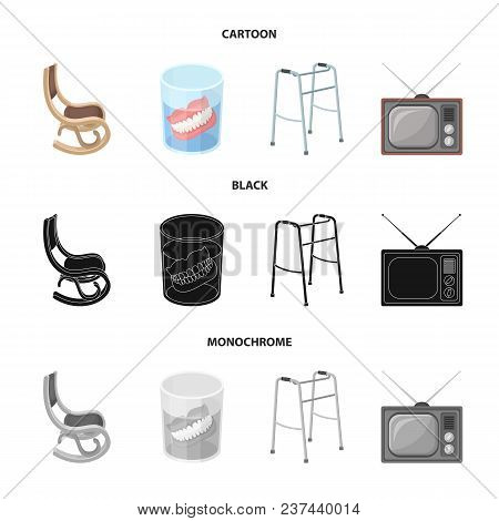 Denture, Rocking Chair, Walker, Old Tv.old Age Set Collection Icons In Cartoon, Black, Monochrome St