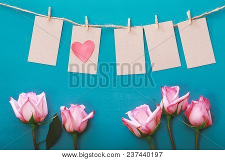 Hanging Label Tags With Heart Shaped Decoration And Rose
