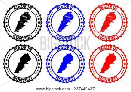 Made In Lebanon - Rubber Stamp - Vector, Lebanon Map Pattern - Black, Blue And Red