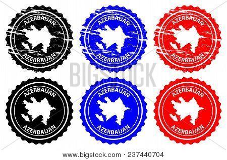 Azerbaijan - Rubber Stamp - Vector, Azerbaijan Map Pattern - Sticker - Black, Blue And Red