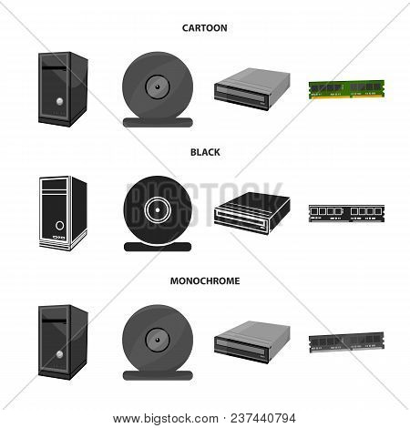 System Unit, Memory Card And Other Equipment. Personal Computer Set Collection Icons In Cartoon, Bla