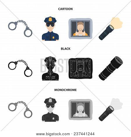 Handcuffs, Policeman, Prisoner, Flashlight.police Set Collection Icons In Cartoon, Black, Monochrome
