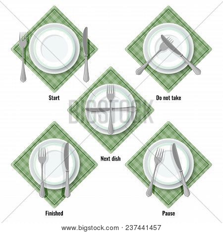 Proper Table Etiquette Instructions How To Place Cutlery. Checkered Napkin, Ceramic Plate, Silver Fo