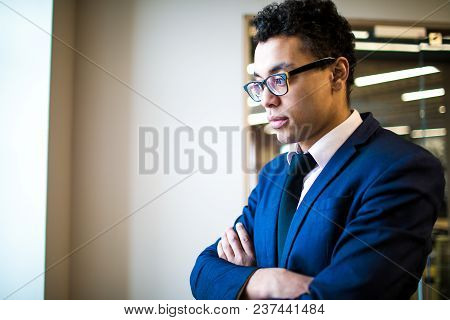 Serious Business Man In Suit Thinking About Future Company During Work Break In Company. Thoughtful