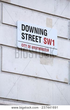 London, Uk - April 23, 2016: Downing Street Sign In London, Uk. 10 Downing Street Is The Office Of B