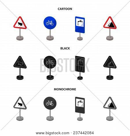 Different Types Of Road Signs Cartoon, Black, Monochrome Icons In Set Collection For Design. Warning