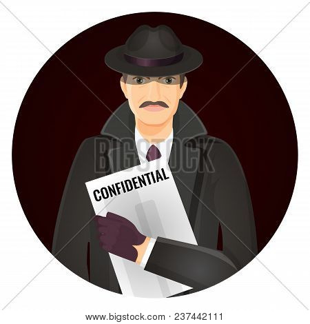 Mysterious Private Detective With Confidential Documents In Hands. Man In Hat And Coat Investigates