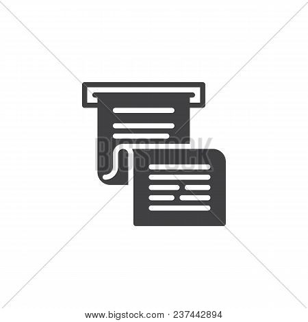 Invoice Or Paycheck Vector Icon. Filled Flat Sign For Mobile Concept And Web Design. Bank Cheque Sim