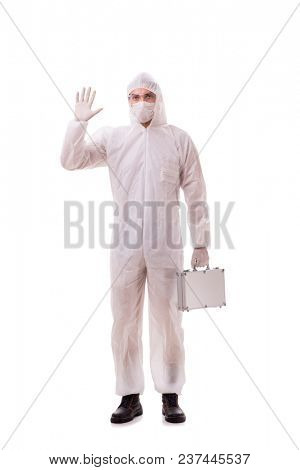 Criminologist in protective suit with steel case