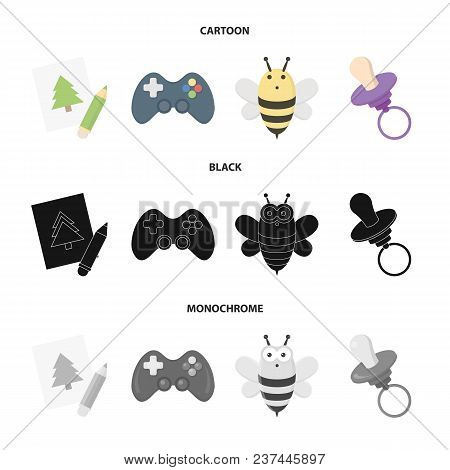 Picture, Dzhostik, Bee, Nipple.toys Set Collection Icons In Cartoon, Black, Monochrome Style Vector