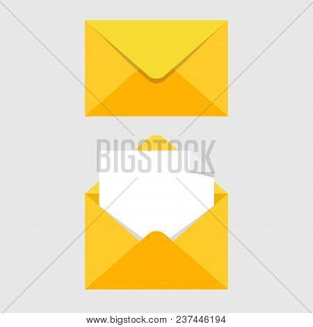 Set of mail icons with a picture of a closed letter. Paper document enclosed in an envelope with note paper card. Delivery of correspondence or office documents. Vector illustration EPS 10 poster