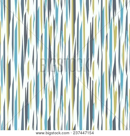 Abstract Seamless Background With Vertical Colored Ragged Stripes. Blue, Green  Stripes On White Bac