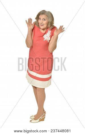 Senior Woman Posing  Isolated On White Background