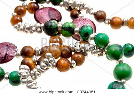 fragment stone lady's bead closeup isolated on white poster
