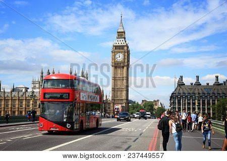 London, Uk - July 7, 2016: People Walk Near Big Ben In London, Uk. London Is The Most Populous City