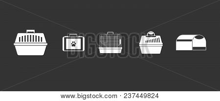 Pet Cage Icon Set Vector White Isolated On Grey Background