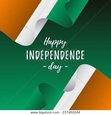 Banner Or Poster Of Ivory Coast Independence Day Celebration. Ivory Coast Flag. Vector Illustration.